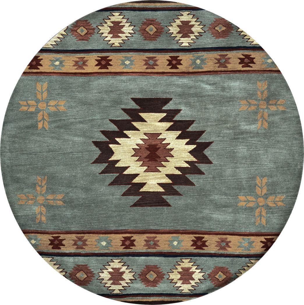 Ahnika Blue 8 Round Rug In 2020 Wool Area Rugs Area Rugs Rugs