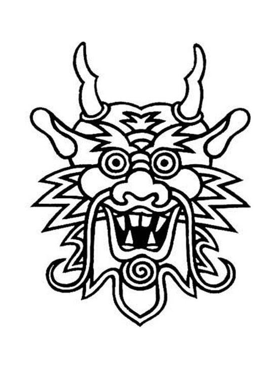 Kleurplaten Chinese Draak.Kleurplaat Masker Draak Draken Masker Dragon Face Dragon Mask