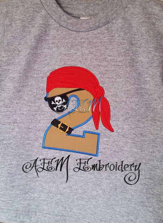 Pirate Birthday Shirt Number 2 Machine By AEMembroidery On Etsy