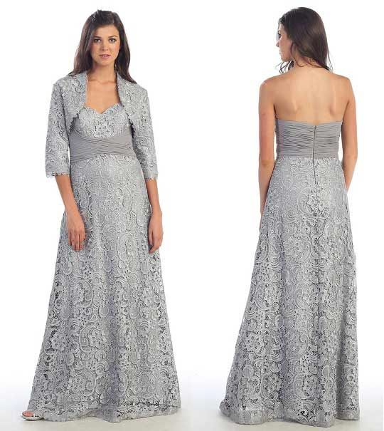 plus size long silver lace mother of bride dresses with jacket lace mother of the