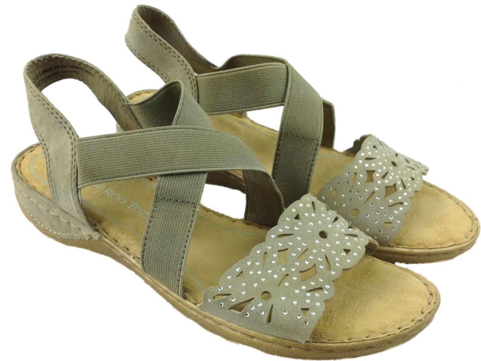 Ladies Marco Tozzi Elastic Strappy Slip On Taupe Gem Jewelled Wedge Sandal Shoe Jeweled Wedge Sandals Wedge Sandals Sandals