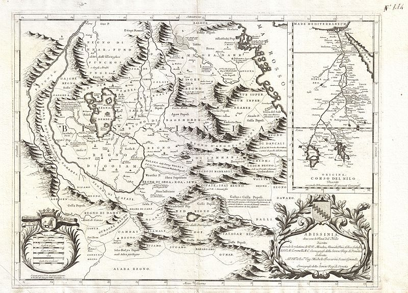 MALLET 1683 map Blue Nile ABYSSINIA Eritrea Ethiopian /'Empire des Abyssins/'