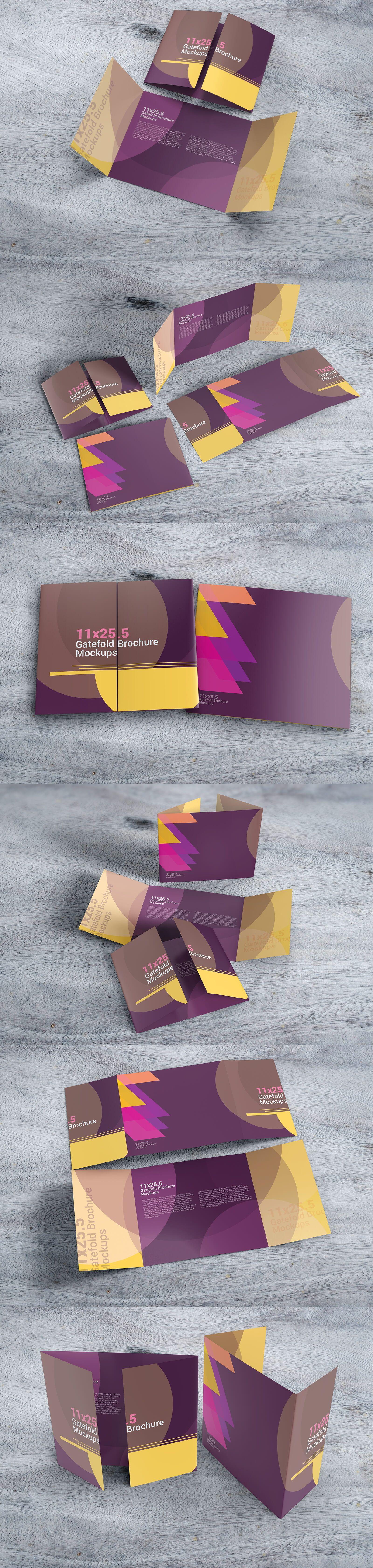11x25 5 Gatefold Brochure Mockups On Brochure Size Brochure Brochures Mockups