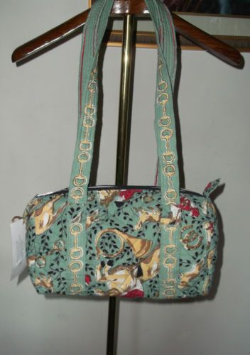 Equestrian Print Sea Green Cotton Quilted Satchel Handbag by Pomegranate