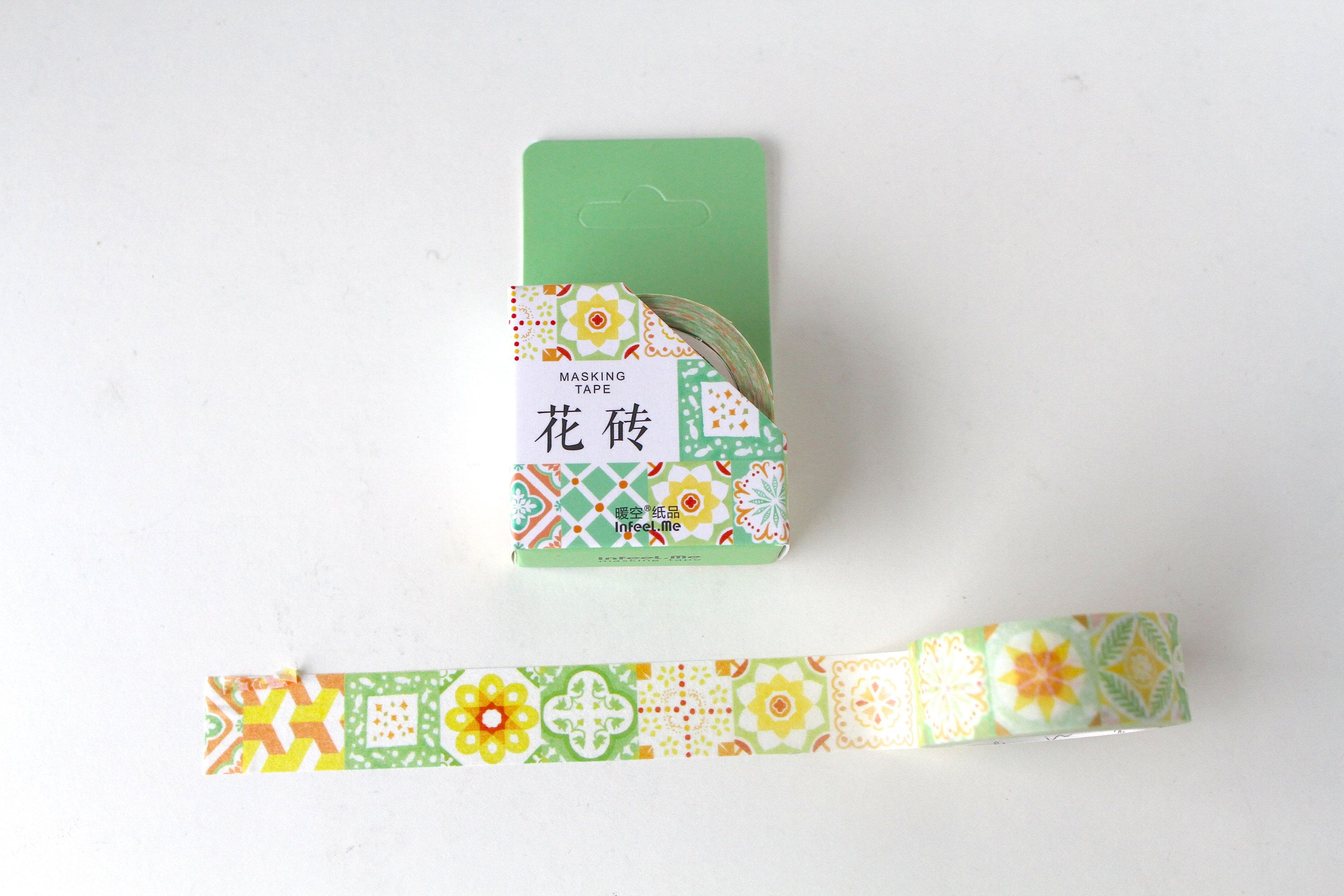 Green Geometric Washi Tape/ Blue Moroccan tile Pattern Deco