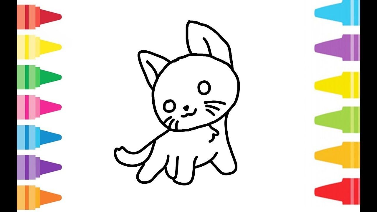 Little Kitty Cat How To Drawing And Coloring Learn Color For Kids Colo Coloring For Kids Little Kitty Learning Colors