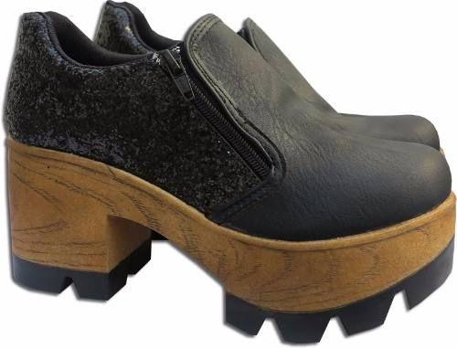 zapatos con taco tractor doble cierre combinados con glitter