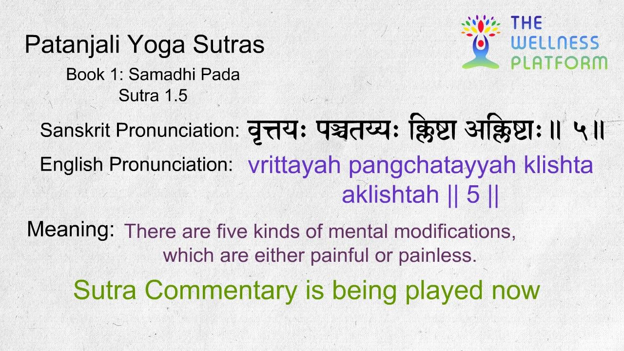 Patanjali Yoga Sutra 1 5 Sanskrit Sutra And English Meaning Commentary Youtube In 2020 Sutra Patanjali Yoga Yoga Sutras