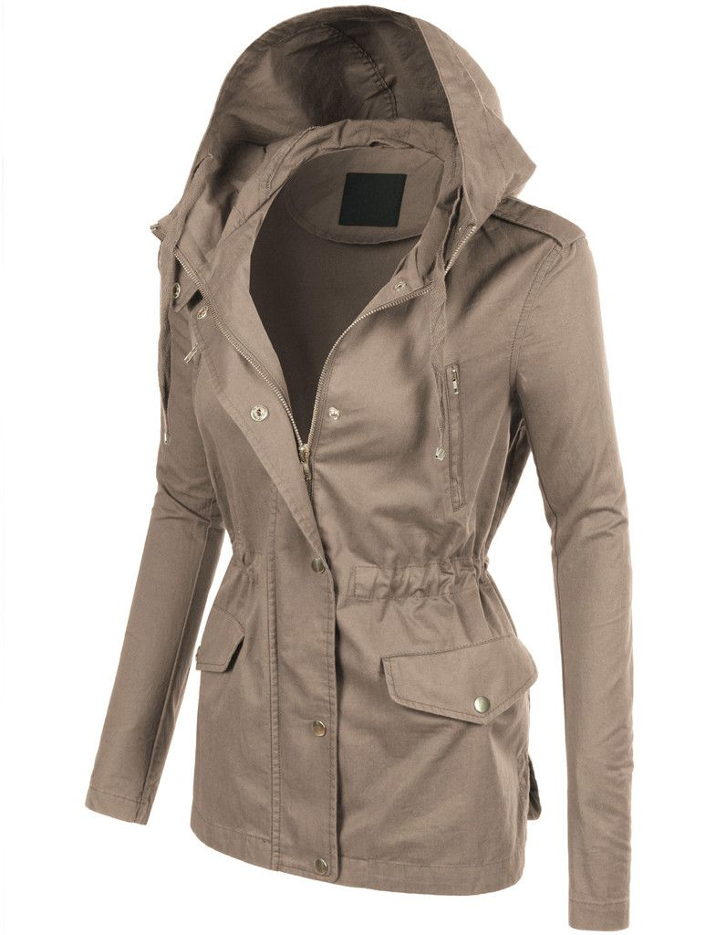 Womens studded military anorak jacket