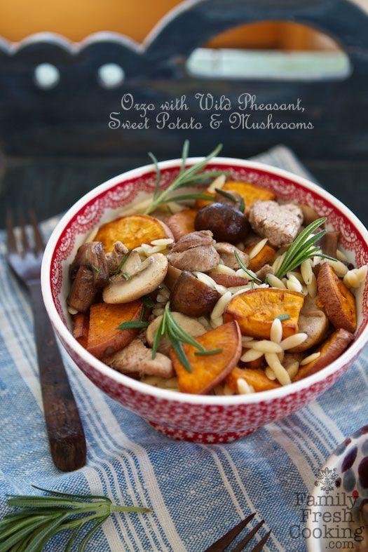 Orzo With Wild Pheasant Sweet Potato Mushrooms Use Chicken Too