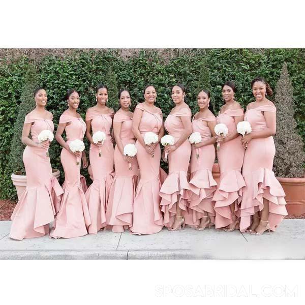 Off Shoulder Satin New Long Blush Pink Mermaid Bridesmaid Dresses