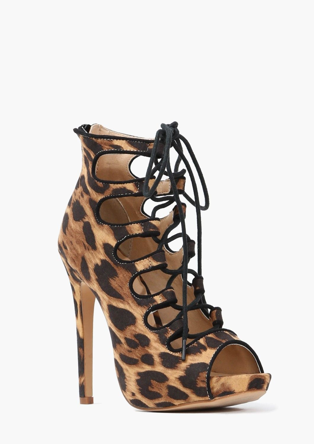 0afa7e1bb4 Animal Print Lace Up Heel