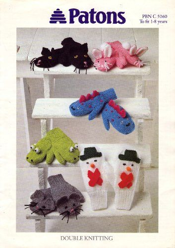 Patons Children's Novelty Mittens Knitting Pattern: To Fit ...
