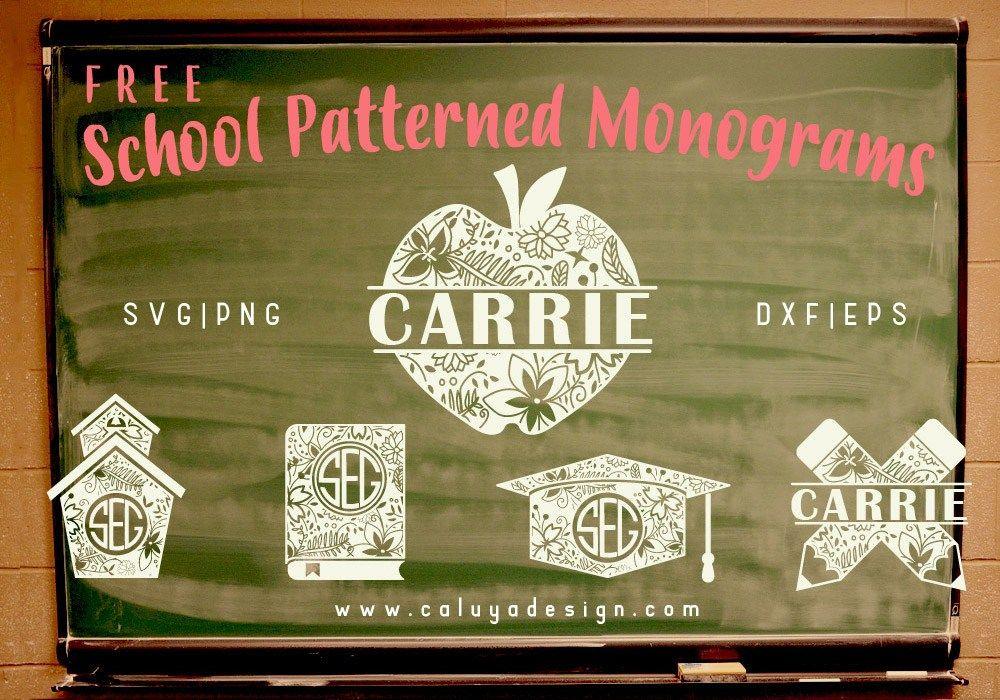 Patterned School Monogram Free SVG, PNG, DXF & EPS