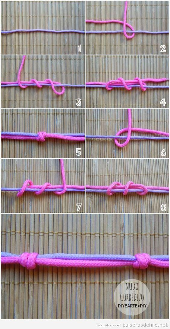 77df849e87f9 Cómo hacer un nudo corredizo para pulseras de cuerdas