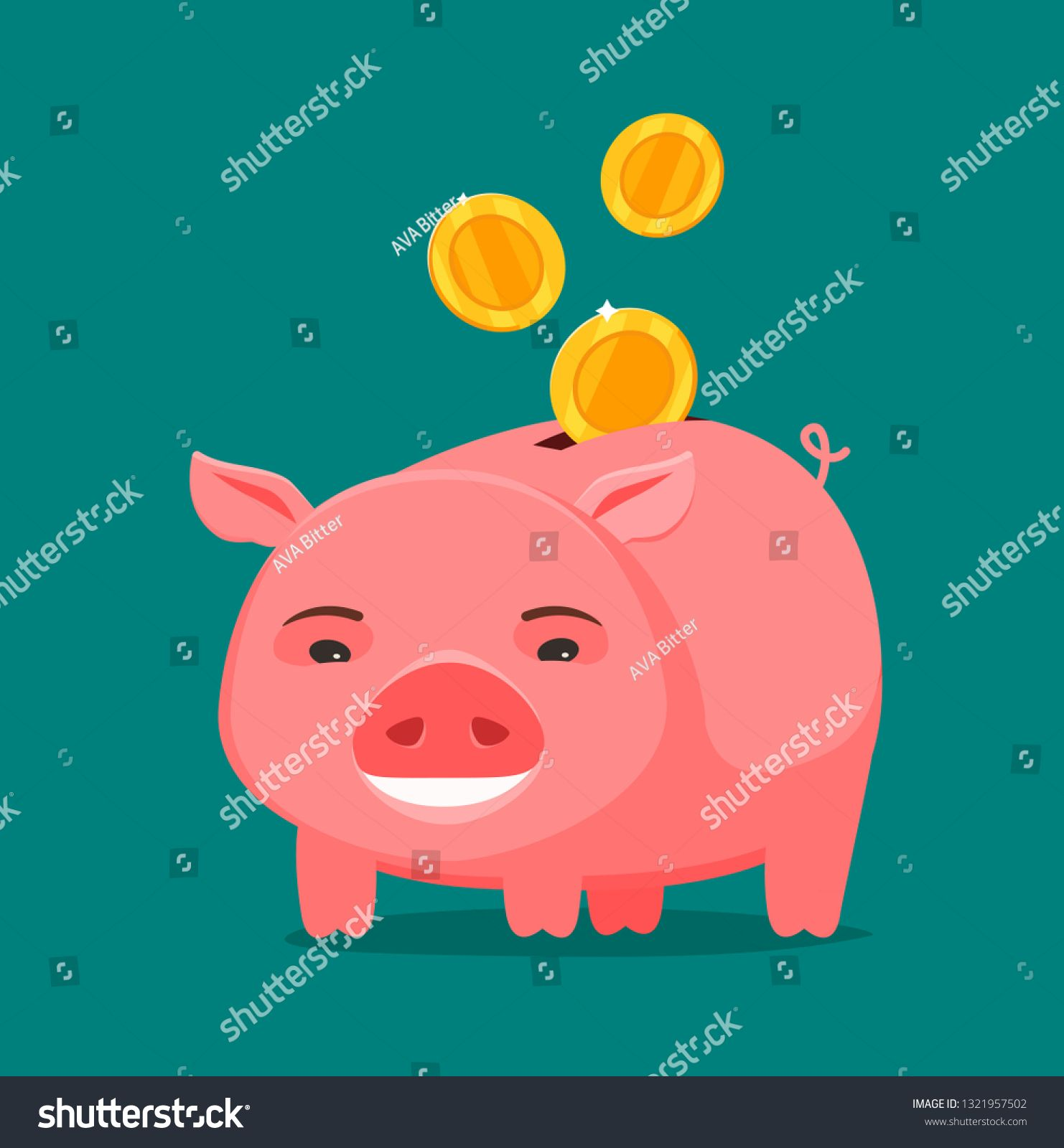 Funny Piggy Bank And Coins Business Banking Concept Cartoon