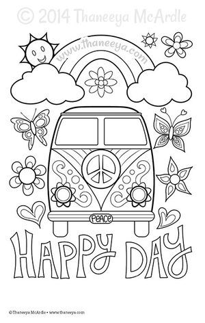 Happy Day Coloring Page by Thaneeya McArdle | bordado Méxicano ...