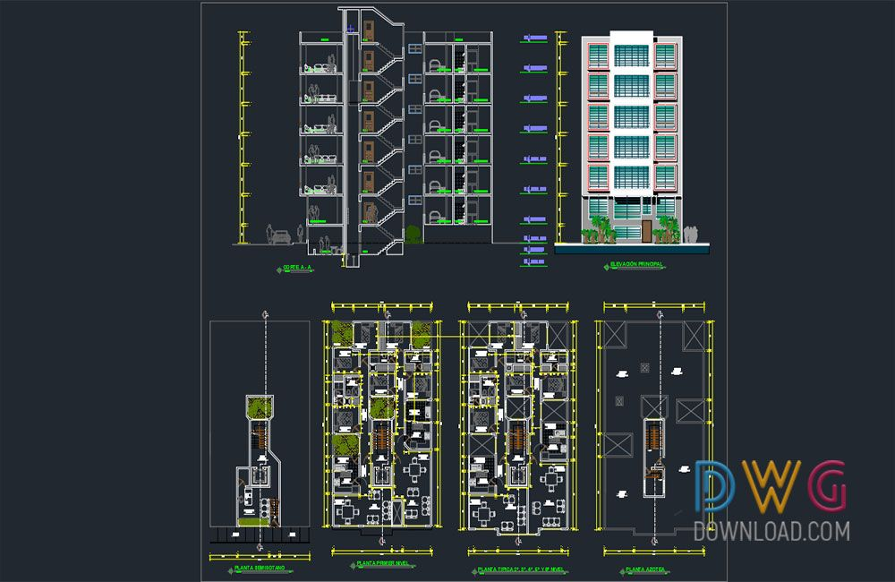 Apartment 6 Floor Architecture Project And About Detail Dwg Cad Projects