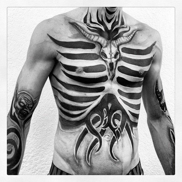 """tattoo test"" (instagram photo by reydiablo) roy ortiz | black and white. ribs. lines. stripes. dark."
