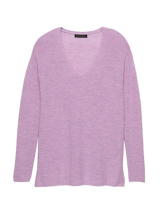 11b98d6918f Banana Republic Womens Machine-Washable Merino Wool Ribbed Tunic Sweater  Heather Lavender Purple