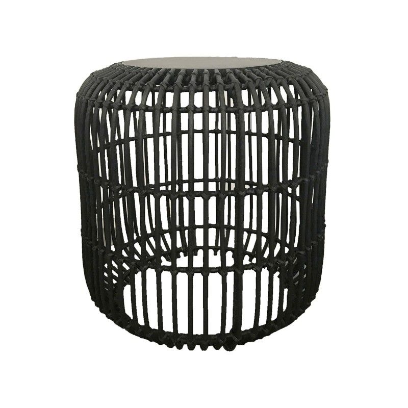 Etta timber top rattan round side table black round