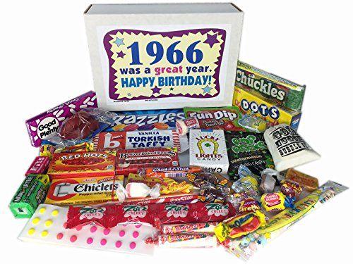 50th Birthday Gift Basket Box Jr 1966 Retro Nostalgic Candy 60s Decade
