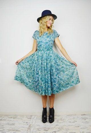 VINTAGE 60's Floral Midi Dress R2D036