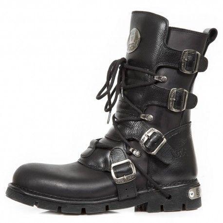 New Rock Hombres Metálico Negro Cuero Largo Zapatos - M.591.S2 (EU 44, Negro)