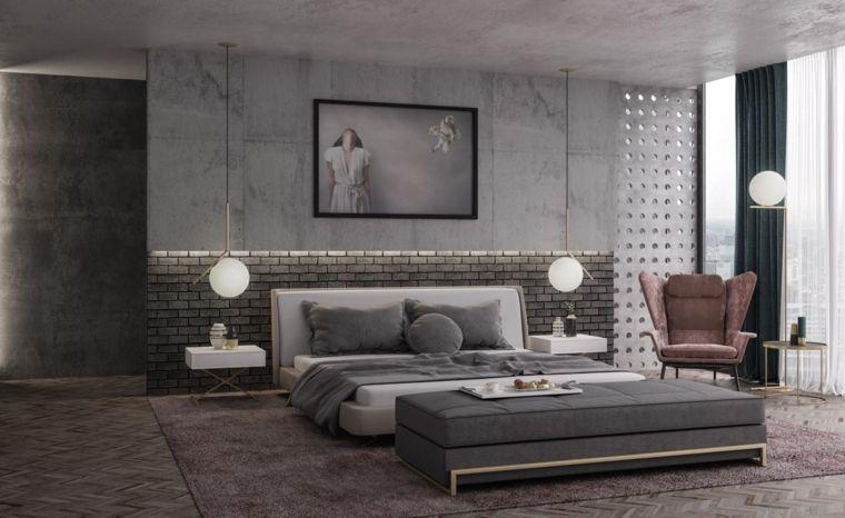 Idee arredamento camera da letto colore grigio parete cemento