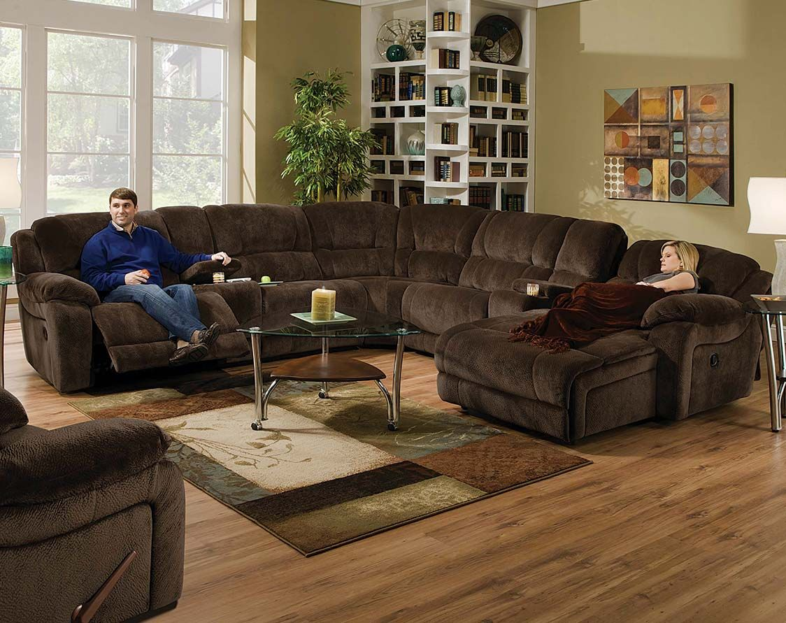 The Ch&ionship Chocolate reclining sectional is covered in a plush microfiber. It features dual recliners cupholders and a reclining chaise. & Brown Wrap-Around Couch | Championship Chocolate Reclining ... islam-shia.org