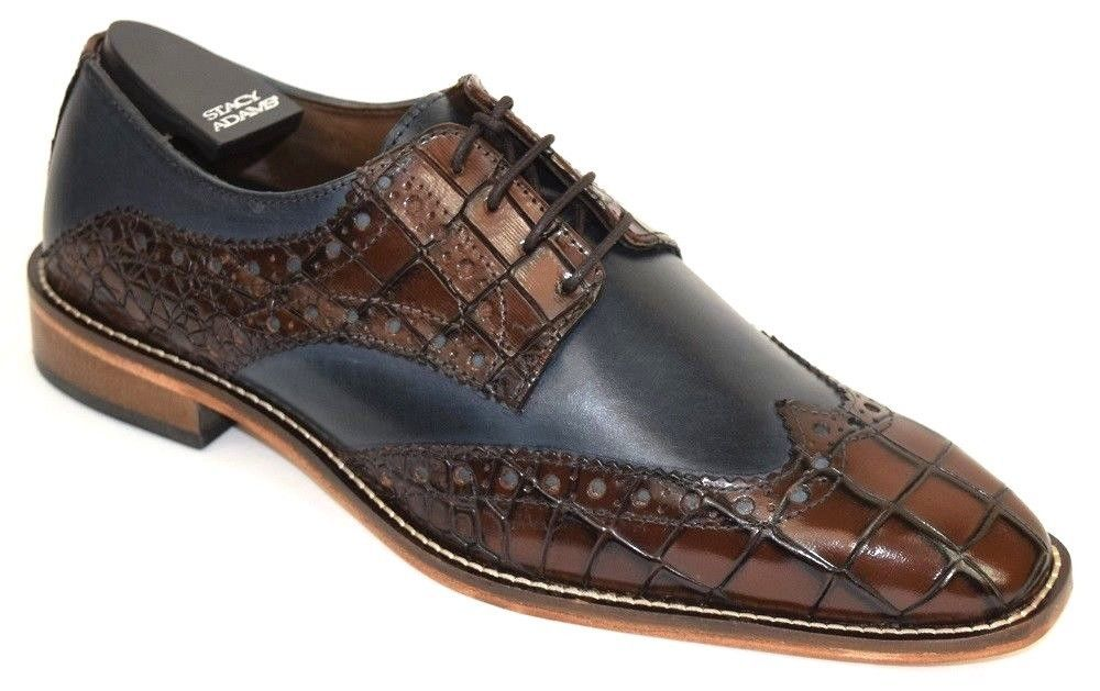 Men/'s Dress Shoes Wing Tip Oxford Cognac//Navy Blue Leather STACY ADAMS 25212