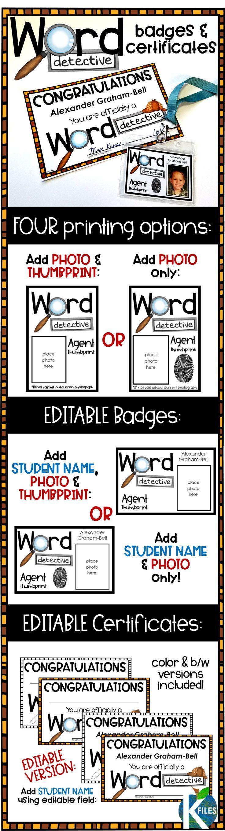 Word Detective Badges Certificates Editable Decoding