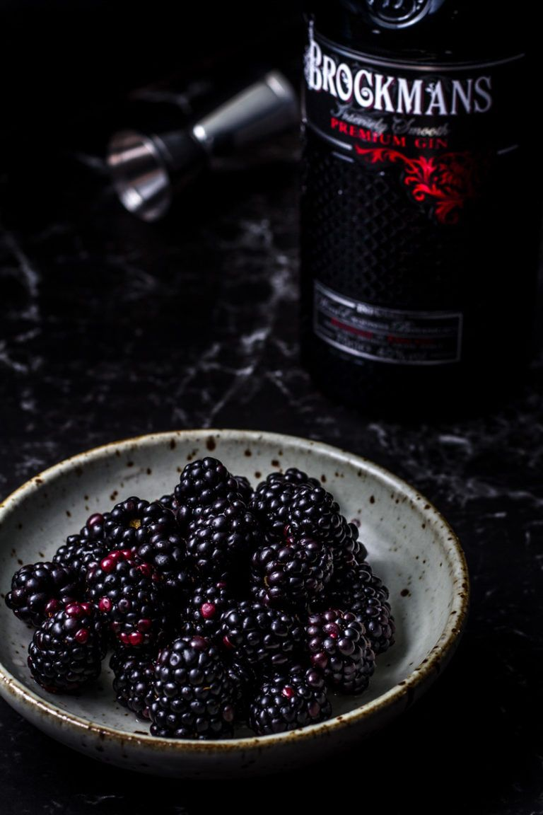Photo of Gin and tonic with blackberry and rosemary-lemon syrup