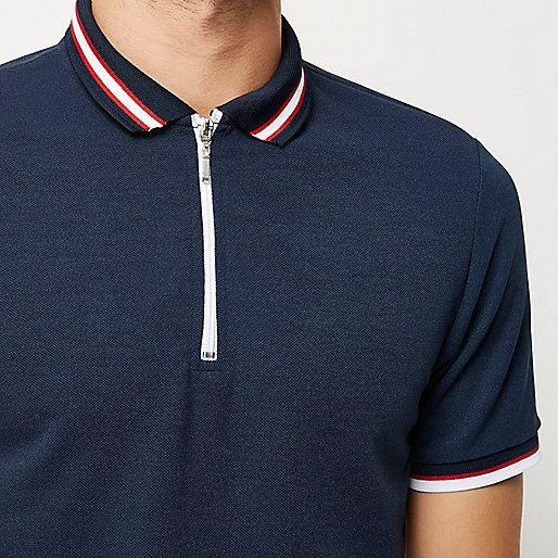 027b5414fe5 Navy zip neck polo - polo shirts - men