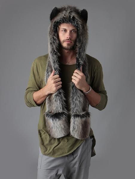 c30cc3dfe The Grey Wolf SpiritHood | Nice things | Wolf, Fur, Fur Coat