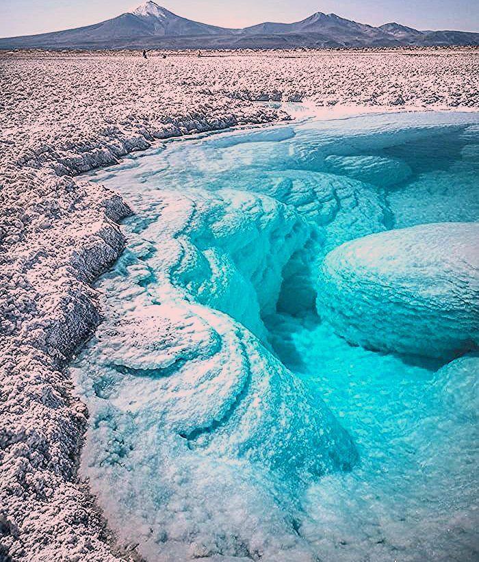 Photo of Pool of crystal clear water Salar de Atacama salt flats, Chile