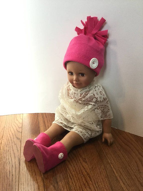 17408f6a08fbf2 Fleece Hat and Booties for 18 Inch Dolls. Bright Pink Fleece and White  Buttons Trim. 18