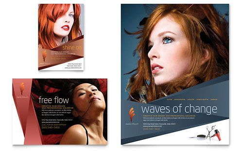 Hair Stylist  Salon  Flyer Template Design Sample  Hair