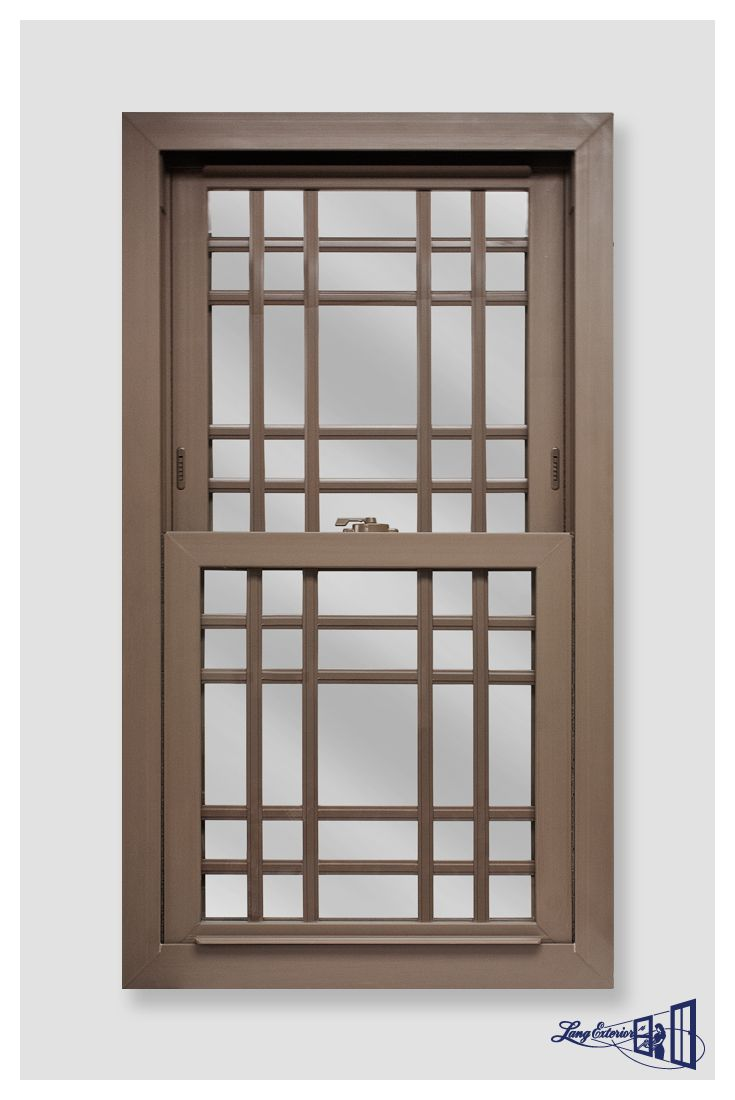 Platinum 2400 Series Cocoa Brown Double Hung With Prairie Contour Grids Replacementwindows Windows Doublehung
