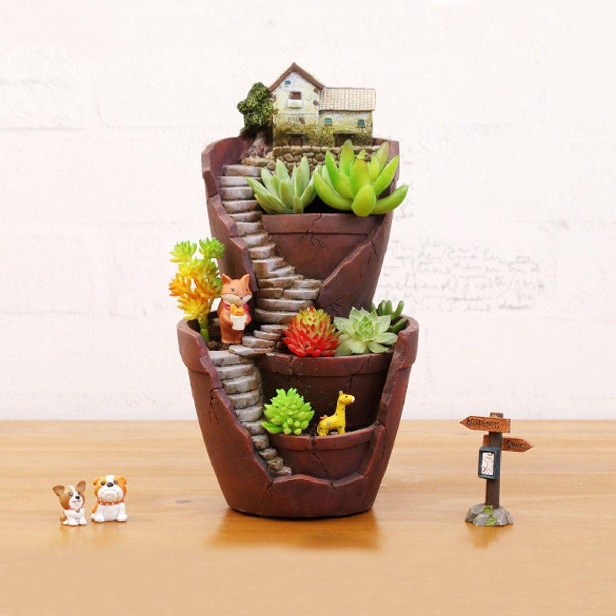 Resin Flower Pot For Succulent Plants Flowerpot Micro Landscape