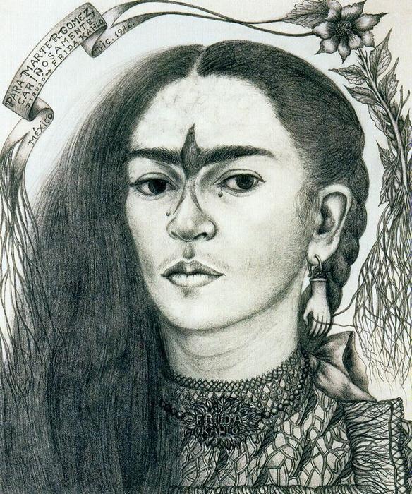 selbstportr t zeichnung von frida kahlo 1907 1954 mexico frida kahlo pinterest. Black Bedroom Furniture Sets. Home Design Ideas