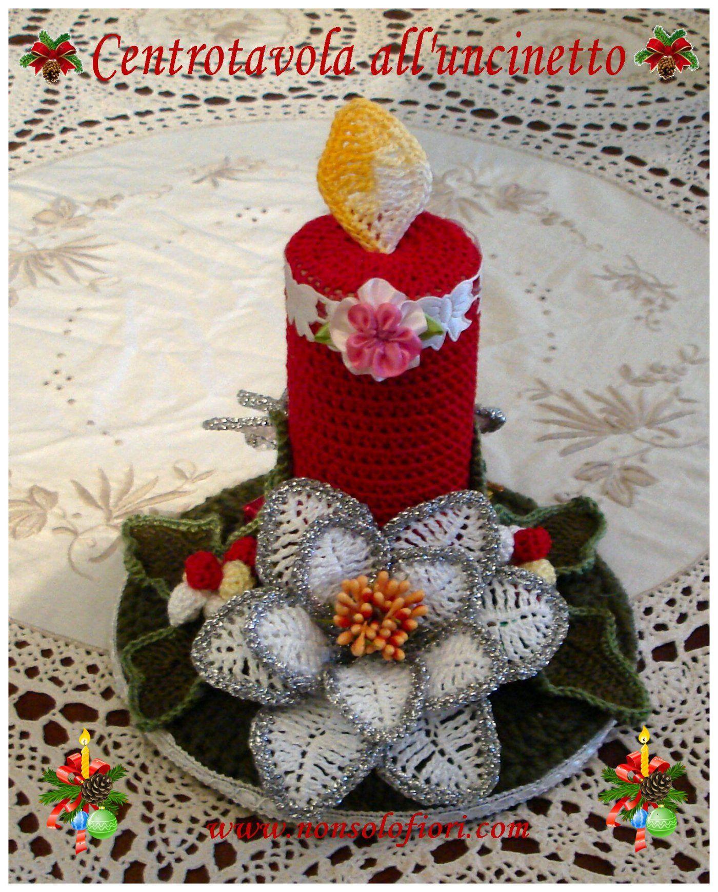 Centrotavola Natalizio Alluncinetto Con Cero Stelle Di Natale