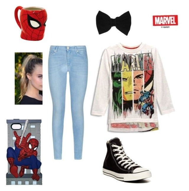 """""""Untitled #9"""" by talaylay on Polyvore featuring 7 For All Mankind, Converse, Marvel Comics and claire's"""
