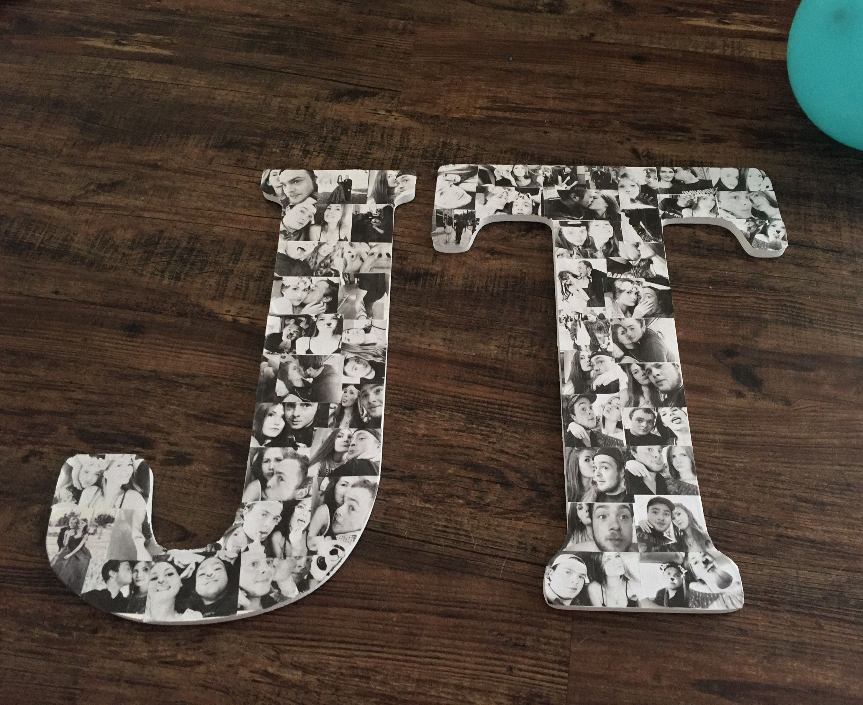 So For Tylers My Boyfriend 19th Birthday I Created A Letter Collage Of Our Initials To Hang Above Bed He Loved It All Was Is Wooden Letters