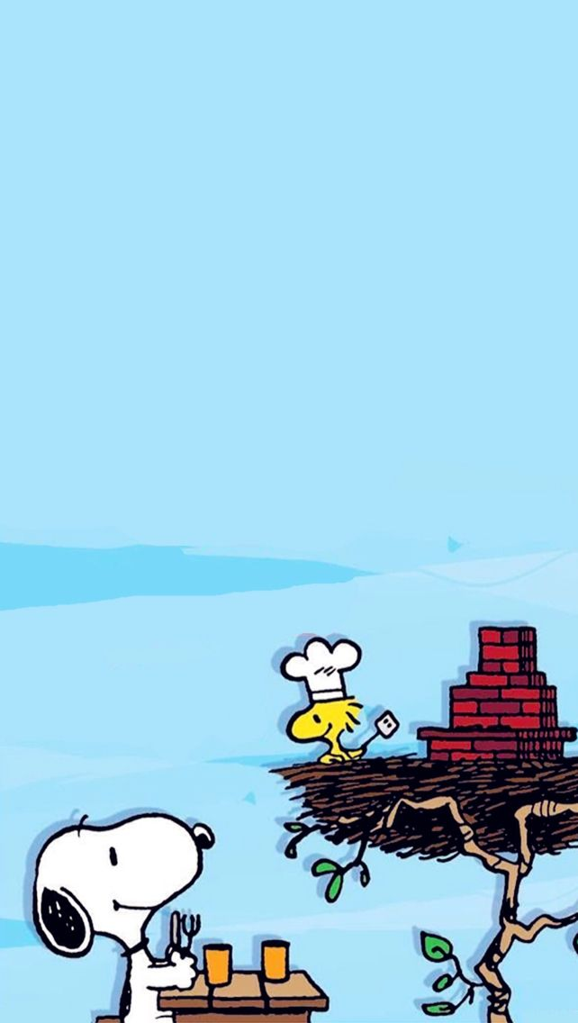 iphone wallpaper snoopy & Woodstock having a Summer Cook