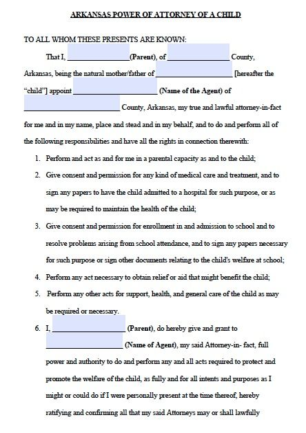 Free Arkansas Power of Attorney For a Minor Form Template - child medical consent form