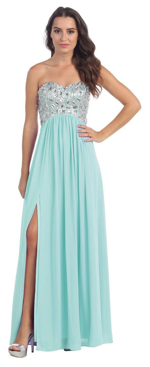 Layered Strapless Laced Bodice Long Peach Prom Dress | Peach prom ...