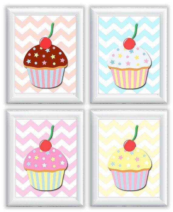 Nursery Art Child Baby Cute Cupcakes Print Set Of 4 Kids Room Wall Decor