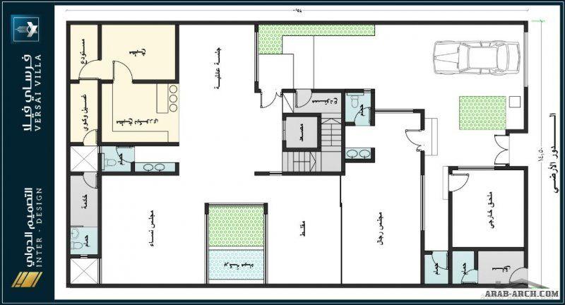 فرساي فيلا دورين وملحق علوي بفناء داخلي مساحة الارض 16x25 المطور شركة التصميم الدولي House Floor Plans House Flooring Floor Plans