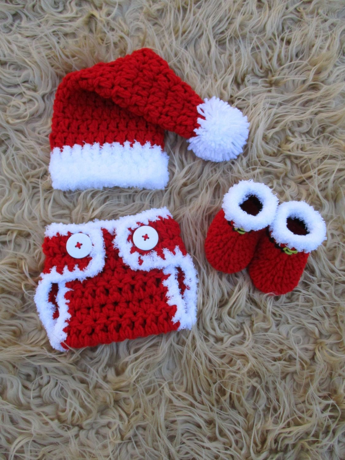 Santa Baby Set Newborn Photo Prop | Crochet Baby Hats | Pinterest